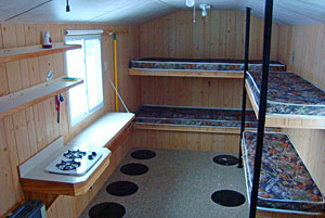 6 Person Fish House Bunks Stove - Upper Red Lake